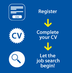 Register, Complete your CV, Let the job search begin!